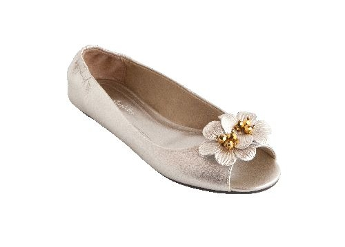 Kate White Gold Peep Toe Ballet Flat