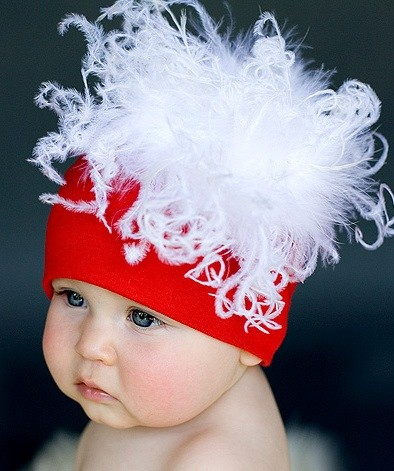 Jamei Rae Santa Baby red Hat Curly 3- 6 months