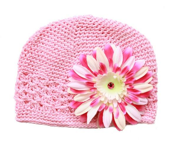 Jamei Rae Hat Candy Pink, Pink Rasp Daisy Crochet Hat
