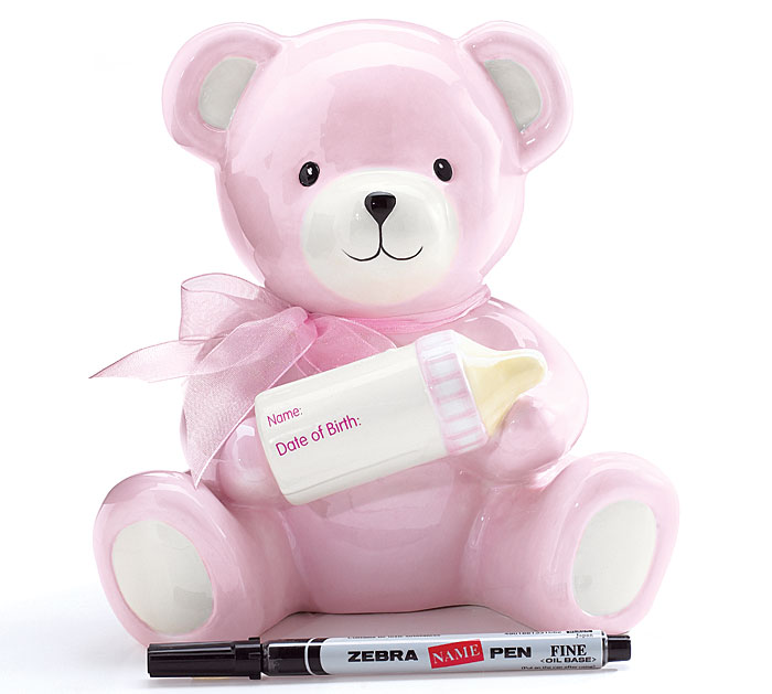 Bear Piggy Bank Pink