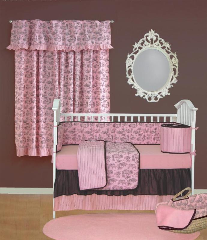 Sleeping Partners Crib Bedding Pink and Brown Toile