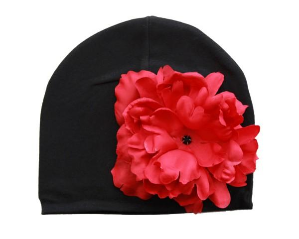 Jamei Rae Black Red Peony Hat
